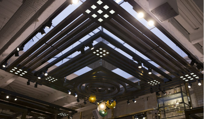 British luxury retailer Ted Baker shows off its ceiling lighting Ted Baker
