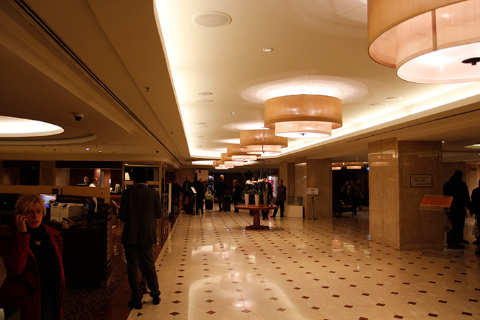 Entrance hall at Hotel Sheraton, Rome Italy nicely lit with Philips lighting