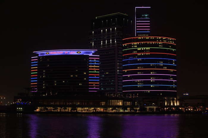 The astonishing facade of Intercontinental Hotel at Dubai, United Arab Emirates illuminated by Philips and Lunasense