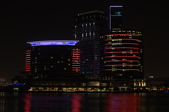 Colourful façade at Intercontinental Hotel at Dubai illuminated with Philips LED lighting