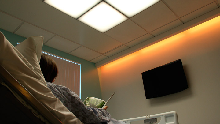 Philips Lighting's HealWell LED cove lighting improves patient experience with color-changing lighting that supports sleep rhythms