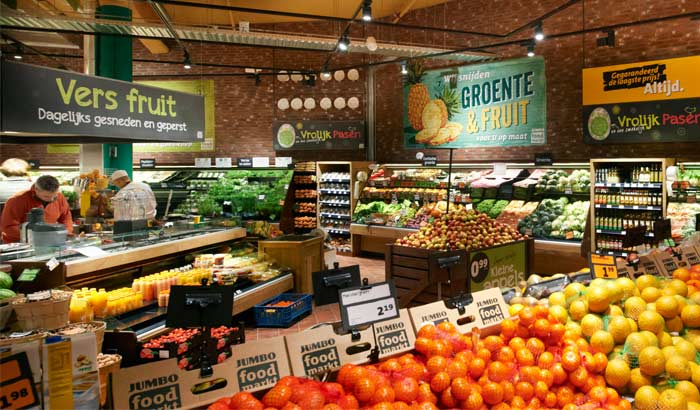 A well-stocked fresh fruit and vegetables section of the Dutch supermarket Jumbo Foodmarkt