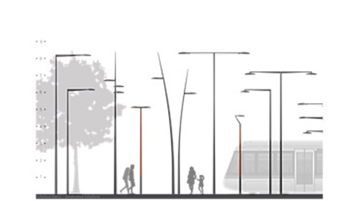 Illustration of urban road illuminated with Philips outdoor luminaires - energy efficient connected street lighting